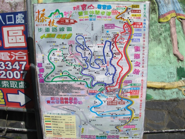 Map of the Tenjhih trails. My usual route is to walk north on the dark blue trail, then take the brown trail which winds up to the summit, then return south on the westernmost section of the red trail.