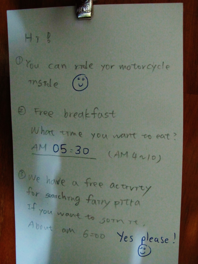 Note on my door at the Pitta Cafe .... now that is excellent service.