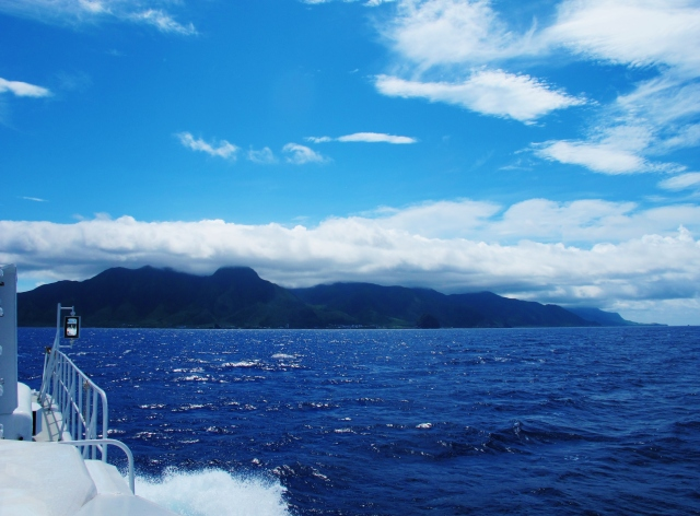 Approaching Lanyu in fine weather on calm seas. It was much rougher on the return crossing the following day.